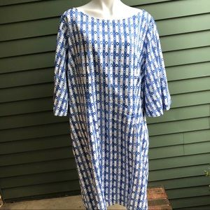 Blue and White Cotton Dress